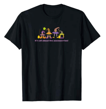 Black T-Shirt with witches hats, shoes, socks and brooms