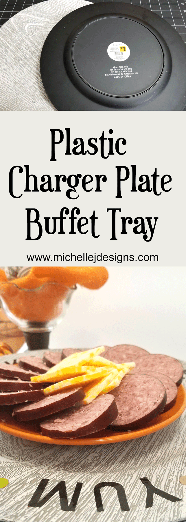 Before and after plastic charger plates and buffet tray