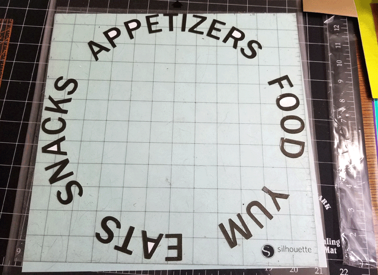 Text design cut in a circle to be adhered to the outer edge of the charge plate