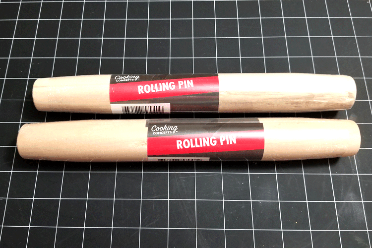 Dollar Store rolling pins to cut and use as legs/feet for my buffet tray.