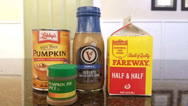 Ingredients for Homemade pumpkin spice latte.