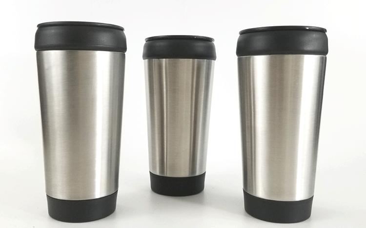 Three plain silver and black dollar tree travel mugs.