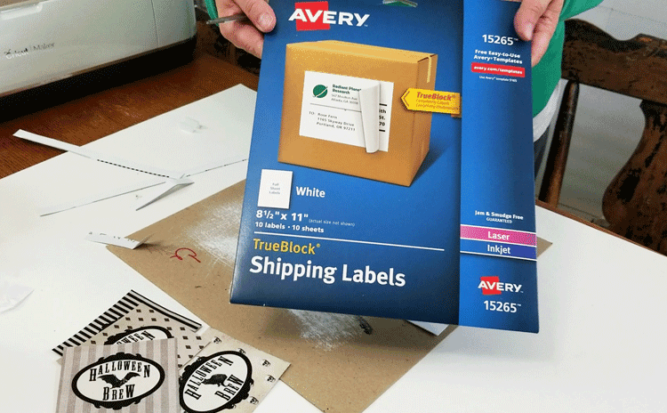 Photo of the packaging for the 8.5 x 11 Avery shipping labels I use as sticker paper.