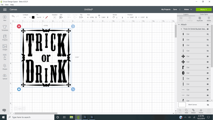 "Free cut file ""Trick or Drink"" in the Cricut Design Software program"