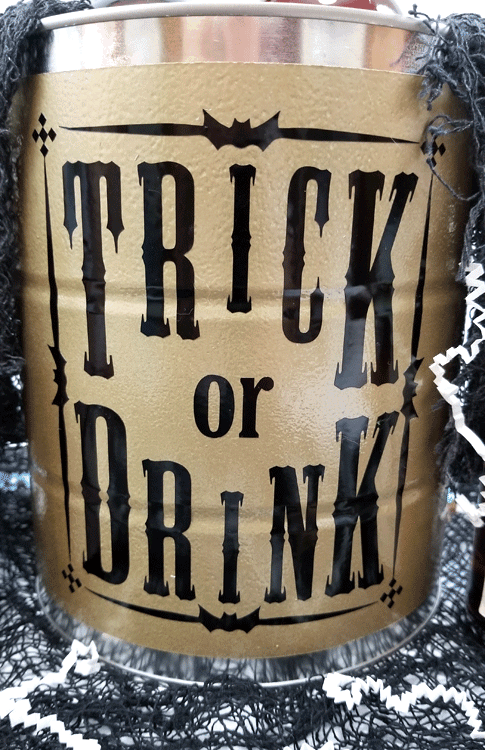 Finished paint can with the Trick or Drink black vinyl design on the front.