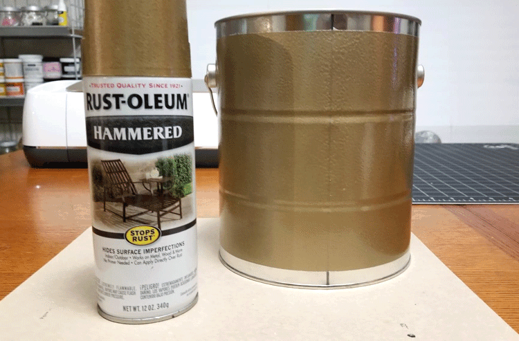 Spray can of Gold Hammered paint and the paint can after its been painted.