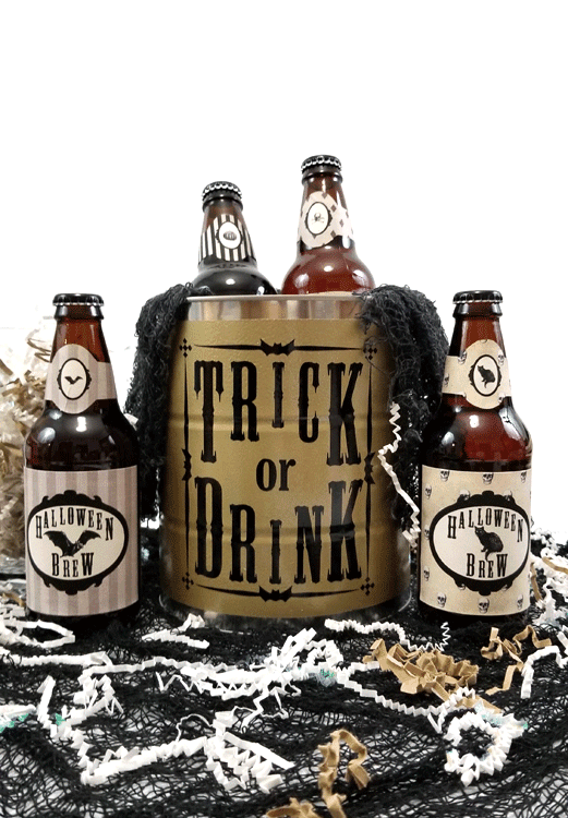 Finished Trick or Drink Halloween bucket and four beer bottles with Halloween printable labels.