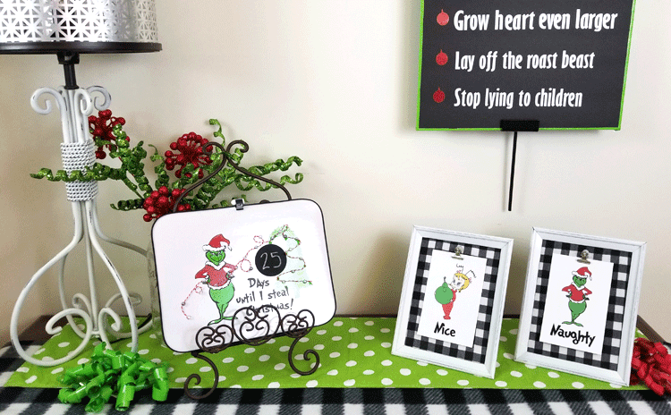 Finished Grinch Printables in Dollar Tree frames