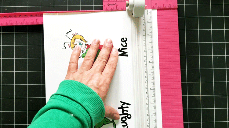Using the paper trimmer to cut the printables down to 4x6