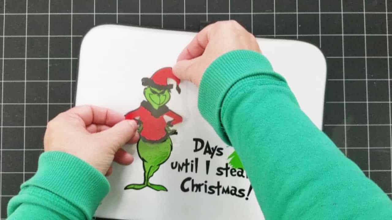 Adding the red layer to the Grinch Countdown to Christmas sign