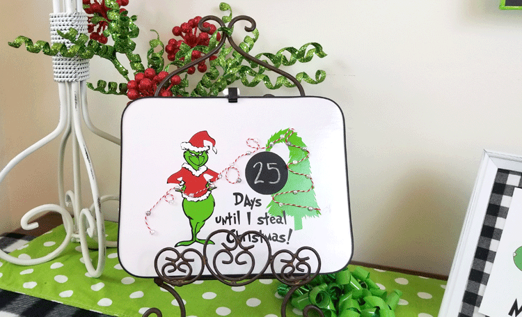 Finished Grinch countdown to Christmas sign