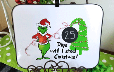 Finished Grinch Countdown to Christmas Board on the easel