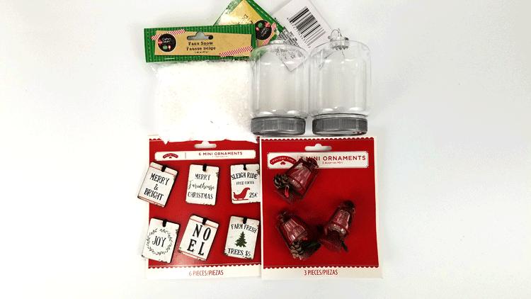 Mini red lanterns and tiny farmhouse signs to go inside the mason jar ornaments