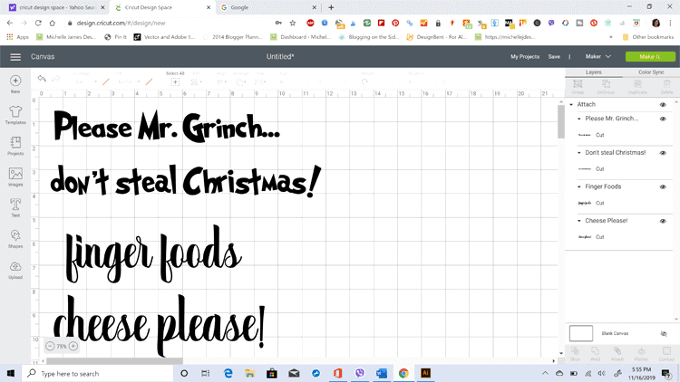 Screen shot of Cricut Design studio before cutting out the Grinch Tray designs