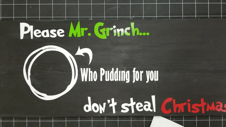 Vinyl text and a circle design showing where to place the Who Pudding for Mr Grinch