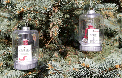 Finished Dollar Tree mason jar ornaments begging someone to