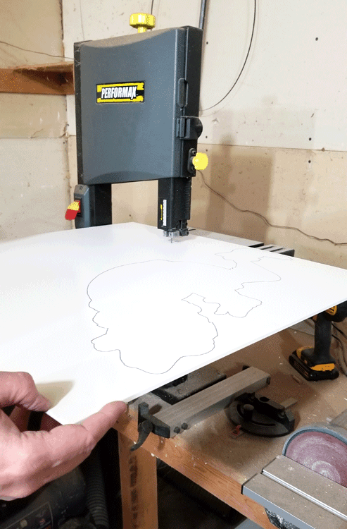 Cutting the design with the band saw.