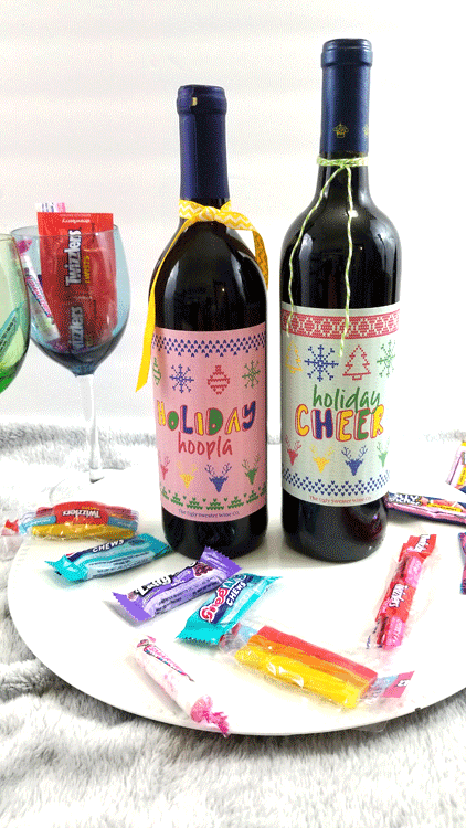 Finished holiday wine with festive holiday wine labels