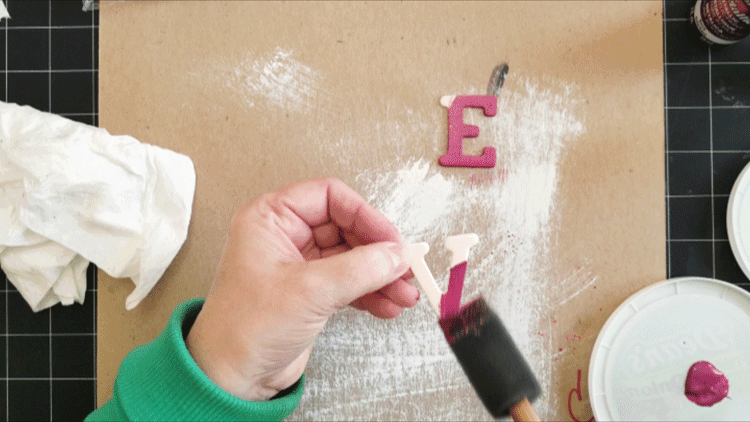 Using DecoArt pink metallic