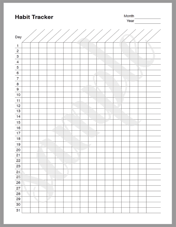 Habit Tracker sheet for 2020 weekly and monthly planner