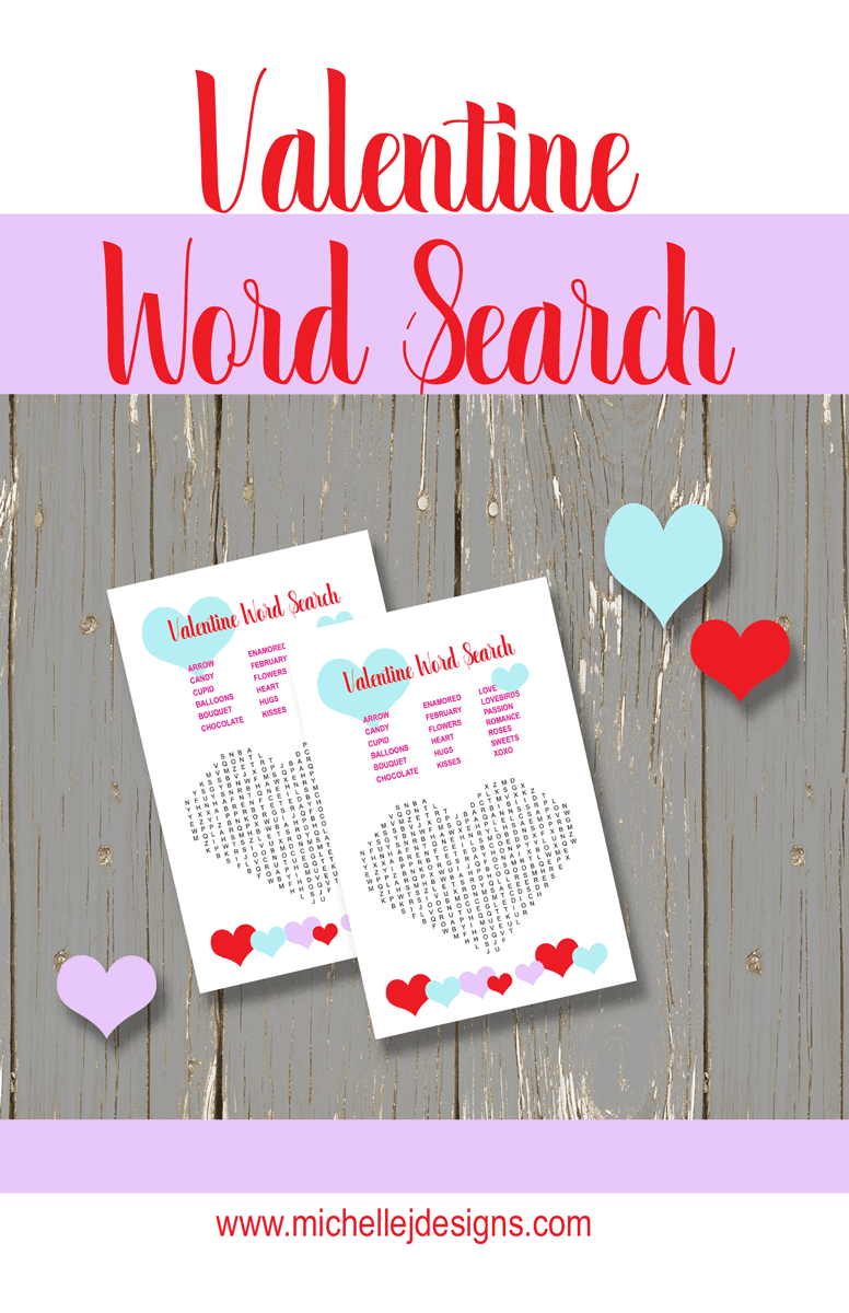 Valentine word search printable game.