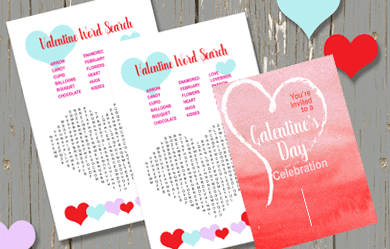 Valentine Word Search and Galentine's Day Invitation on a rustic wood background with hearts.