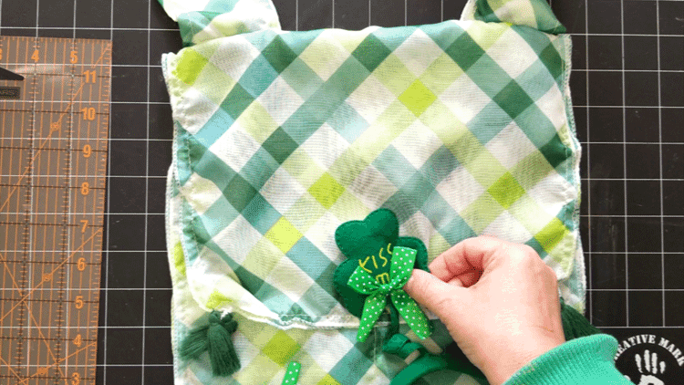 Adding the shamrock to the front of the bag.