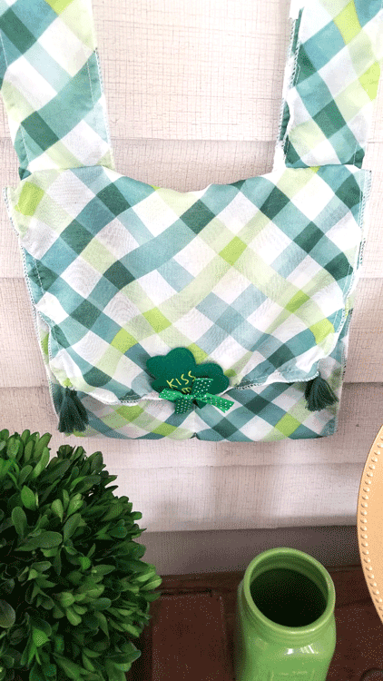 Finished St. Pat's bag sewn with Dollar Tree scarves