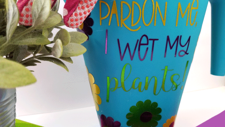 A close up look at the vinyl on the Dollar Tree watering can.