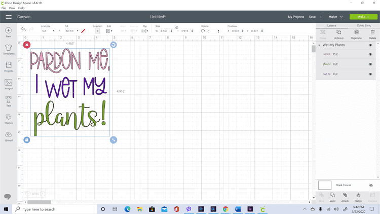 Screenshot of Cricut Design Space with the downloaded file