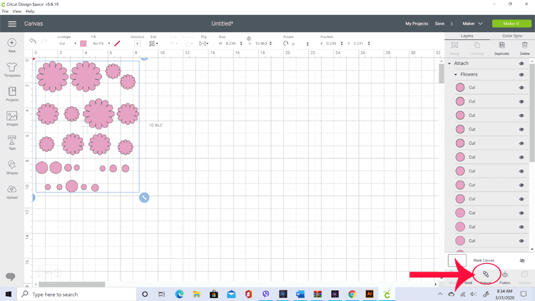 Screenshot from Cricut Design Space showing the flowers that will be cut