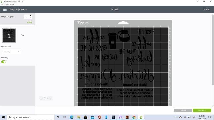 Screen shot of the mirrored text in Cricut Design Studio