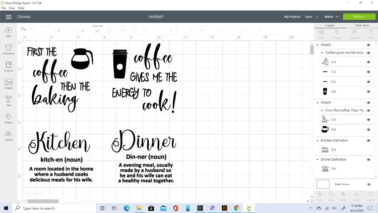 Screen shot of the four potholder designs ready to cut in Cricut Design Studio