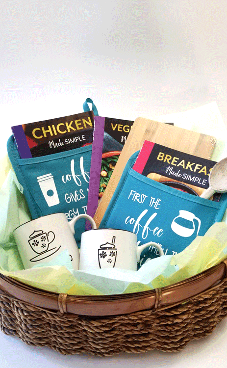 Finished personalized gift basket for mom