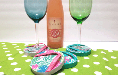 Finished Flip Flop coasters with a wine glass.