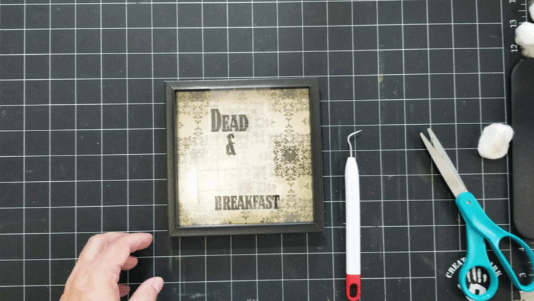 Placing the text from the dead and breakfast design onto the glass.