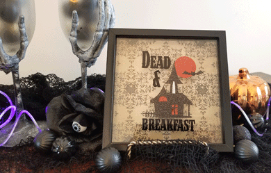 Finished Dead and Breakfast shadow box decor