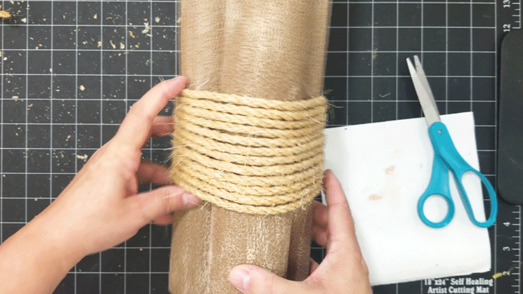 Adding the rope to the noodles for a wood look.