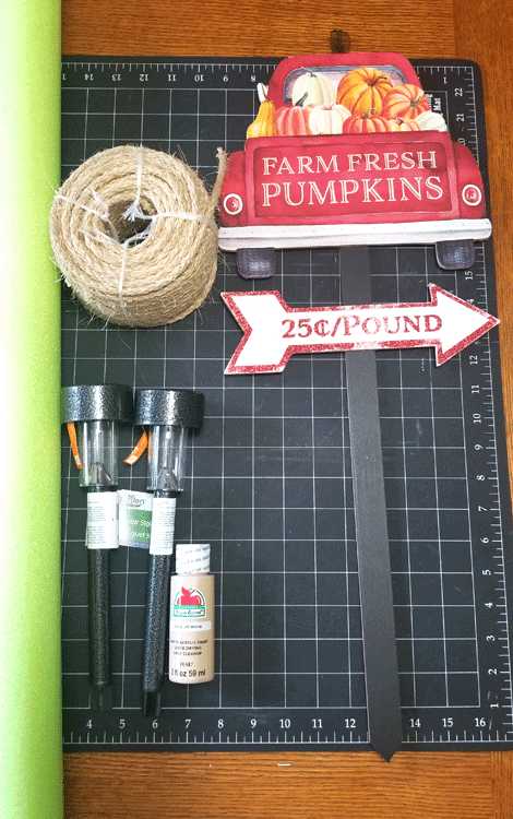 Supplies needed to make a Fall Solar light decor for your back door or porch