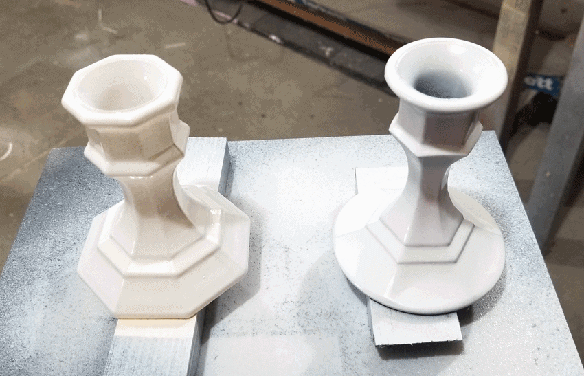 Painted glass candlesticks using the Aged Gray spray chalk paint.