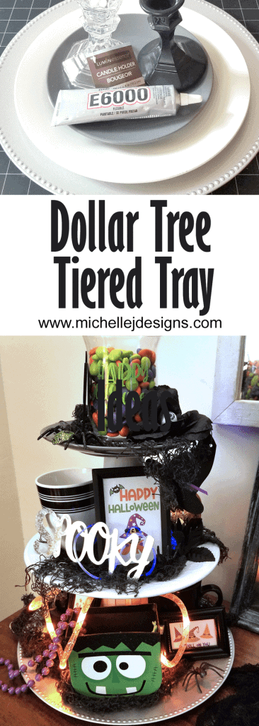 Pinterest Pin showing the supplies for the project and the finished decorated tiered tray