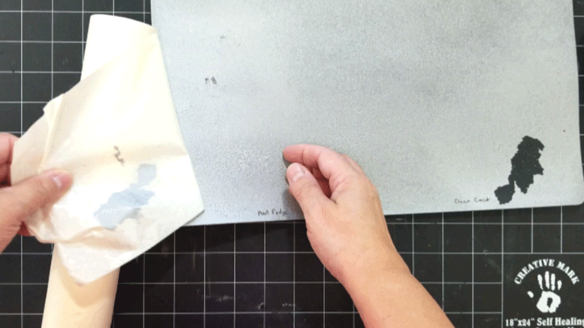 No paint peeled off when removing the transfer tape from the side with the Mod Podge.