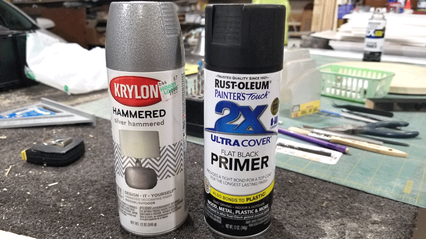 Krylon Hammered Spray paint and Rust-Oleum flat black primer spray paint cans