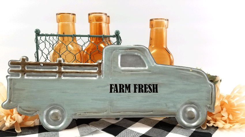 Finished painted white wash metal farmhouse truck.