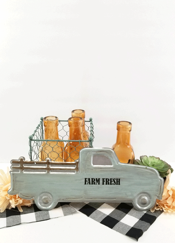 Finished view of the white wash metal farmhouse truck