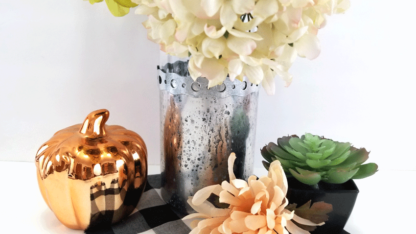 Finished vase with fall flowers