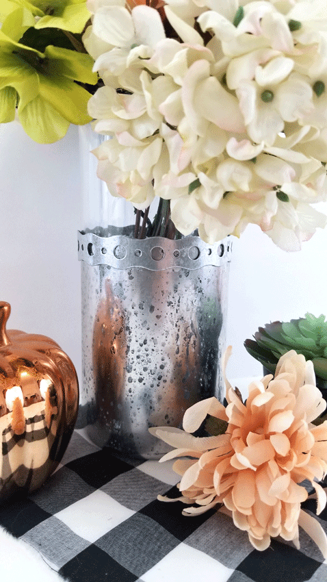 The finished DIY mercury glass look for the Dollar Tree vase.
