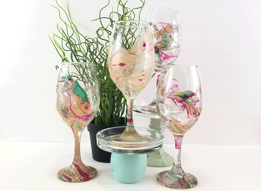 Finished wine glasses.
