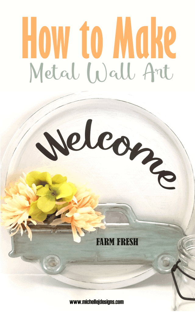 Finished metal wall art with the painted farmhouse truck