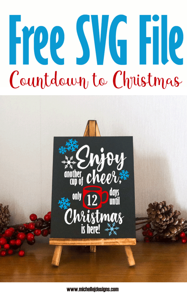 Cup of Cheer countdown to Christmas on a chalkboard.